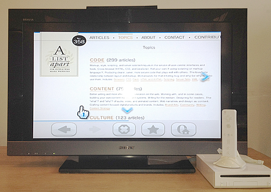 The A List Apart site as viewed on a Nintendo Wii browser. Image © A List Apart