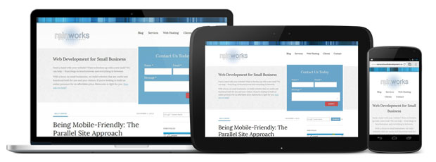 The Rainworks site viewed responsively in 3 devices.